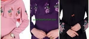 Yeni Trend Nakışlı Tesettür Elbise Modelleri