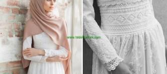 Beyaz Tesettür Elbise Modelleri
