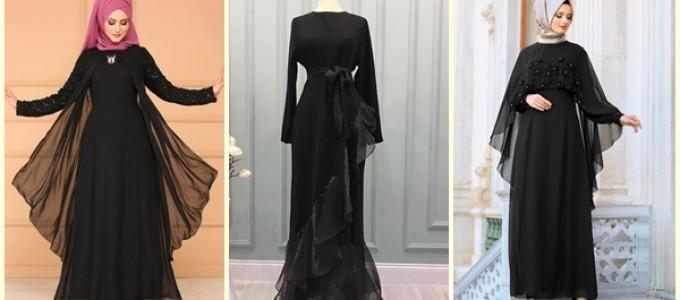 En Yeni Siyah Tesettür Elbise Modelleri