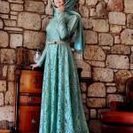 Ala tesettür mavi dantel elbise