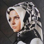 armine siyah beyaz asimetrik eşarp modelleri