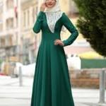 koyu yeşil tesettür elbise modelleri