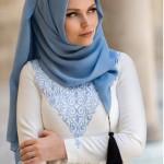 müslüma wear bebe mavisi püsküllü şal modelleri