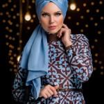 müslüma wear mavi kahve elbise modelleri