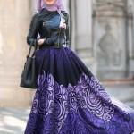müslüma wear mor baskılı etek modelleri