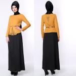 sarı siyah iki parça tesettür elbise modelleri