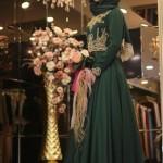 yeşil işlemeli tesettür elbise modelleri