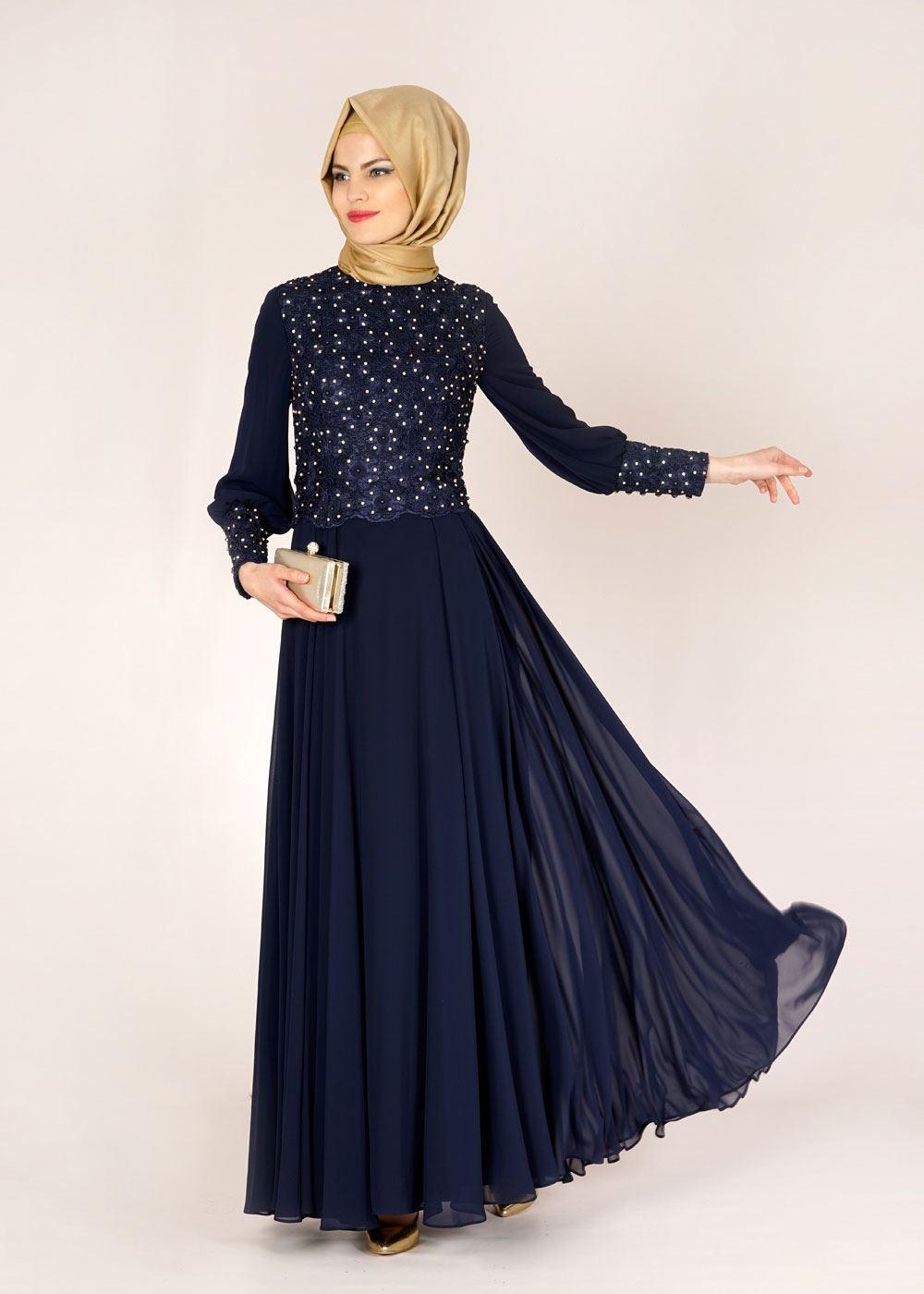Şifon tesettür abiye elbise