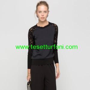 siyah dantelli bluz modeli