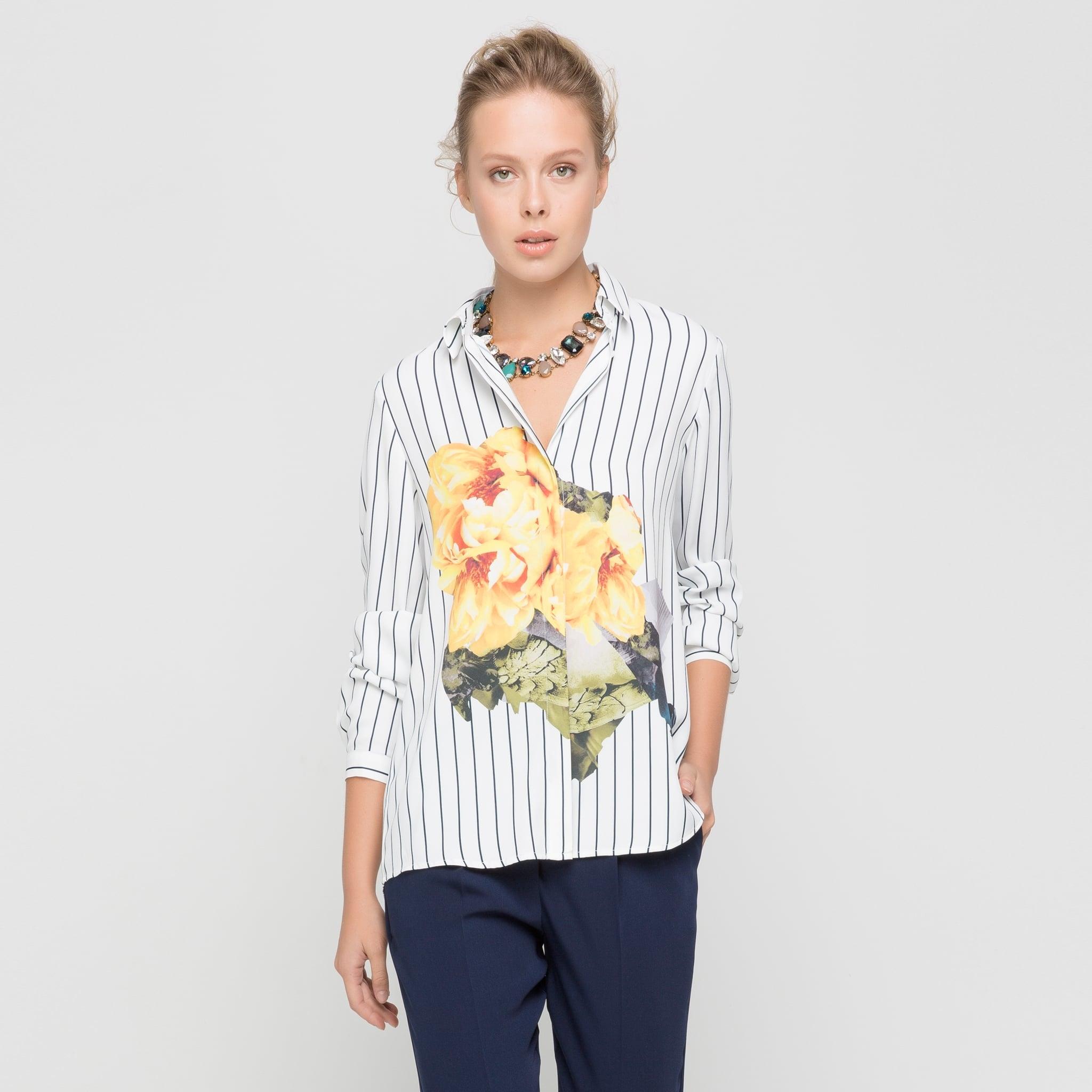 çiçek detaylı çizgili gömlek