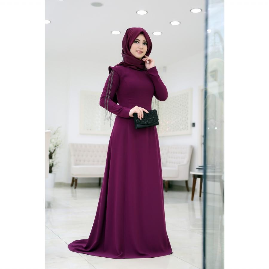 Düz kesim tesettürlü abiye elbise