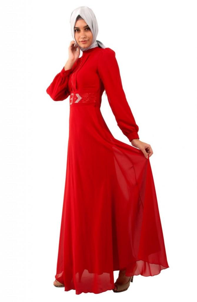 Kırmızı tesettür abiye elbise modeli