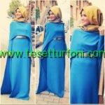 mavi tesettur abiye elbise