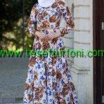 Çiçek Desenli Hardal Elbise