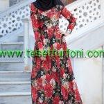 zernisan-cicek-desenli-kirmizi-elbise
