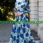 zernisan-cicek-desenli-sax-mavisi-elbise