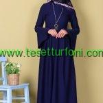 Lacivert Tesettur Elbise