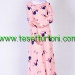Somon Desenli Tesettur Elbise